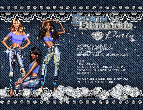 African American Denim & Diamond Party Invitation (sold in sets of 10)