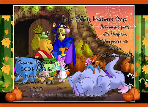 Winnie the Pooh Costume Halloween Party and  Event Invitation