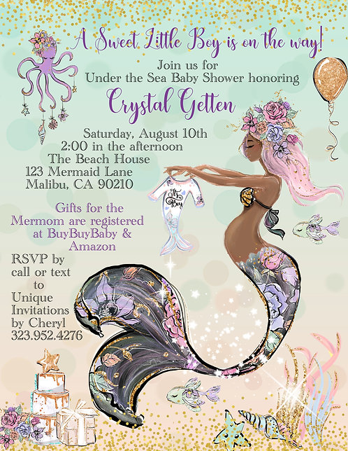 Blue African American Mermaid Baby Shower Invitations (sold in sets of 10)