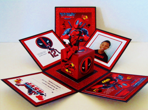 Deadpool Custom Exploding Box Event Invitation