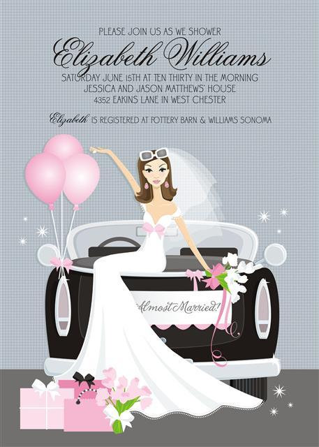 Bride on Car Bridal Shower and  Event Invitation