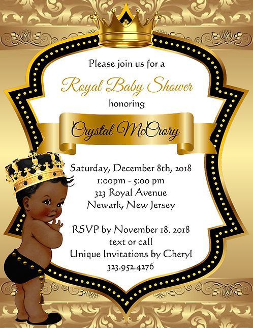 Golden Little Prince Baby Shower Invitations (sold in sets of 10)