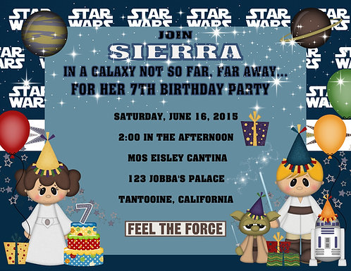 Star Wars Girl Birthday Party Invitations