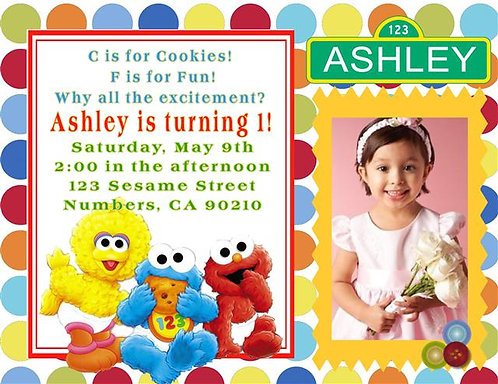 Sesame Street Babies Birthday Party Invitation