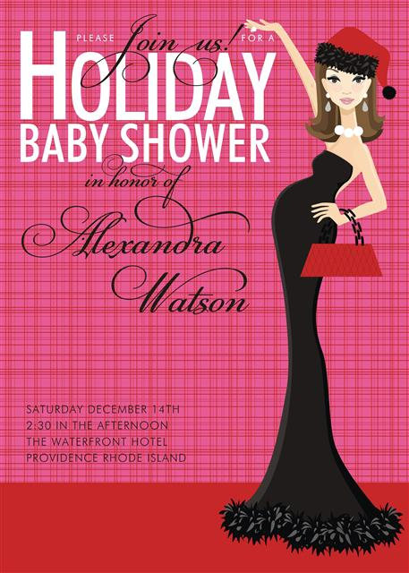 Red Holiday Baby Shower Invitations
