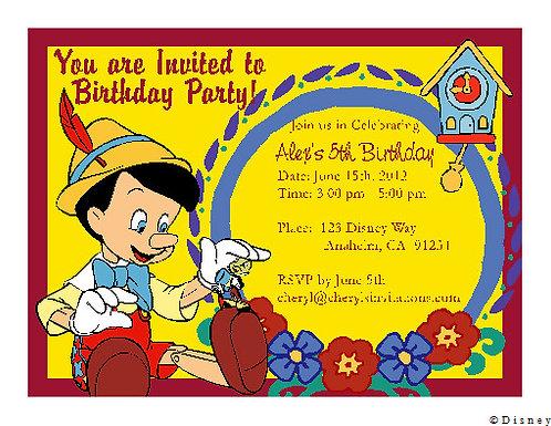 Pinocchio Children Party  Invitation
