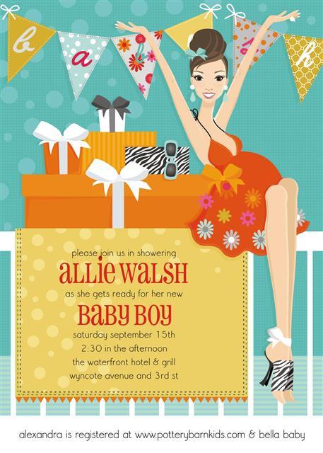 Brunette Blue Banner Baby Shower Invitation