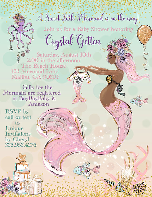 Pink African American Mermaid Baby Shower Invitations (sold in sets of 10)