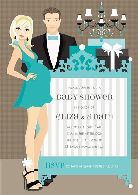 Blue Couples Trendy Elegant Crib Baby Shower Invitation