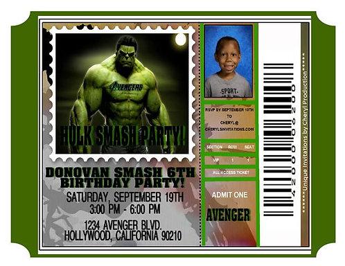 Hulk Avenger Ticket Birthday Party Invitation