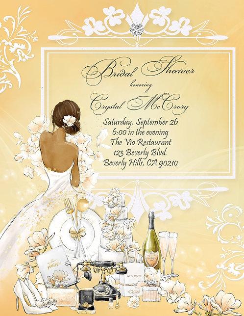 African Amer. Golden Champagne Bridal Shower Invitation (sold in