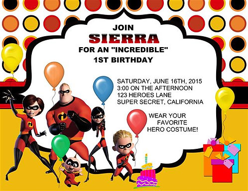 The Incredibles Birthday Party Invitation