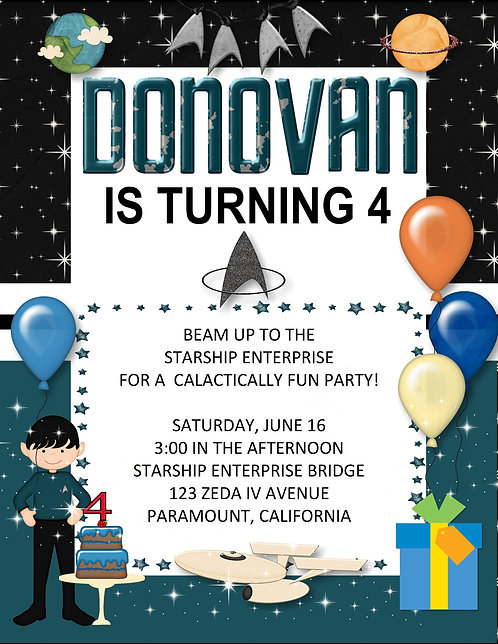 Star Trek Birthday Party Invitations