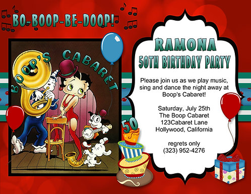 Betty Boop Cabaret Birthday Party and  Event Invitation