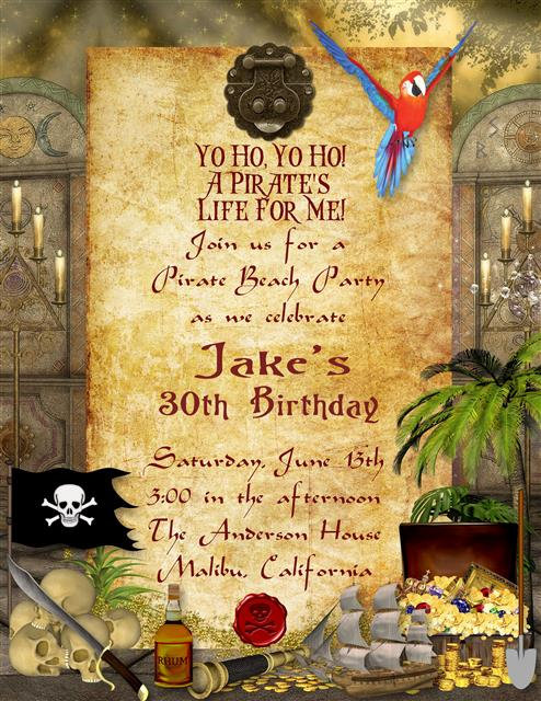 Pirate Birthday Party and  Event Invitation