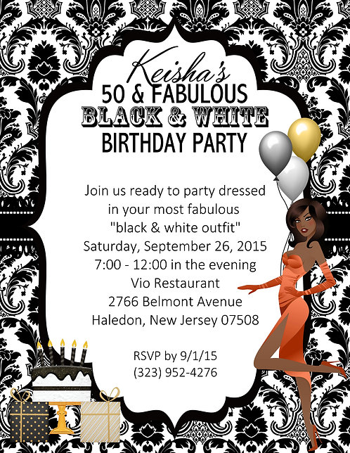 African American Black and White 50 and Fabulous Party and  Event Invitation