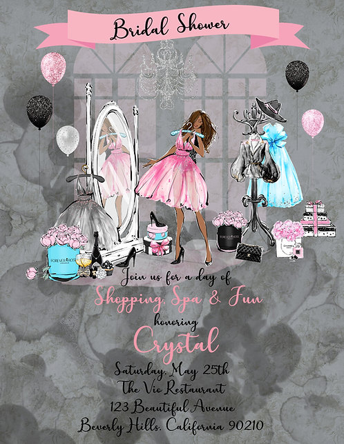African American Chanel Shopping Bridal Shower Invite (sold in sets of 10)
