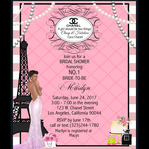 Bridal shower parties california unique invitations by cheryl african american paris chanel bridal shower party and event invitation filmwisefo