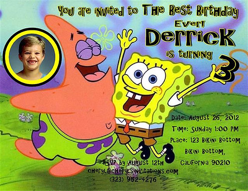#5 Spongebob & Patrick Birthday Party Invitation