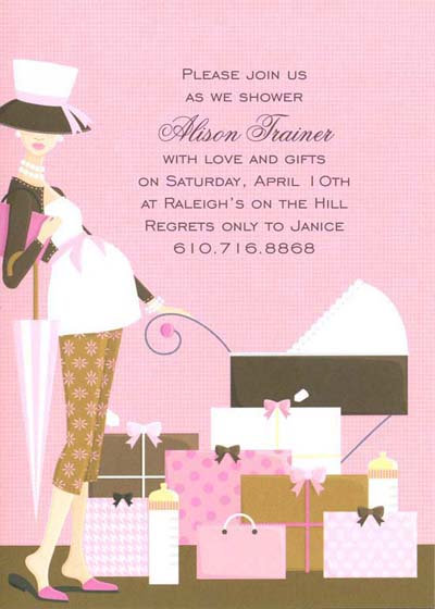 Pink Bassinet Baby Shower Invitation