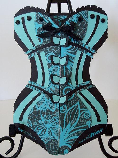 Tiffany Blue & Black Lace Corset Invitation
