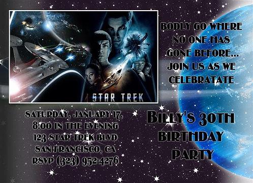 New Star Trek Birthday Party and  Event Invitation