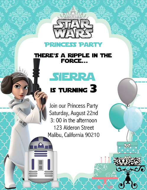 Star War Princess Birthday Party Invitation