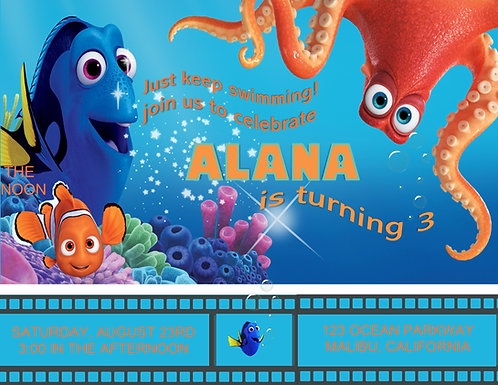 Finding Dory Birthday Party Invitation