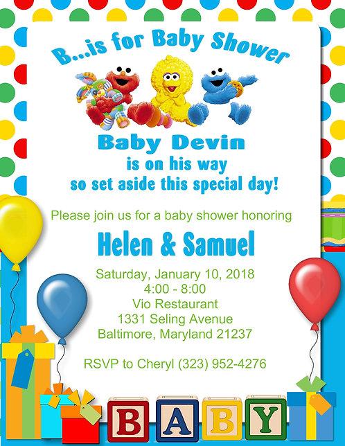 Sesame Street Name Baby Shower Invitation
