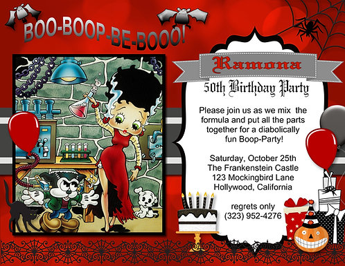 Betty Boop Halloween Party and  Event Invitation