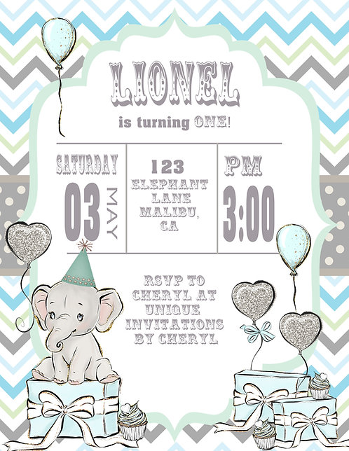 Blue Baby Elephant Birthday Invitation (sold in sets of 10)