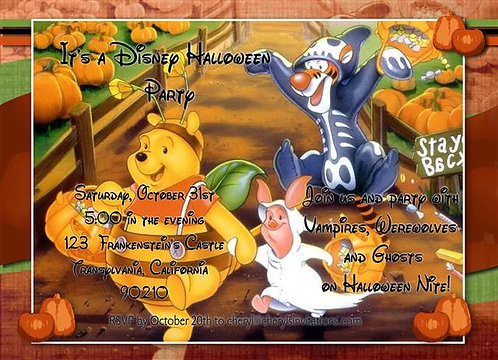 Trick or Treat Pooh Costume Halloween Party and  Event Invitat