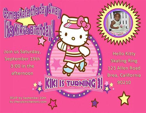 Hello Kitty Skating Birthday Party Invitation
