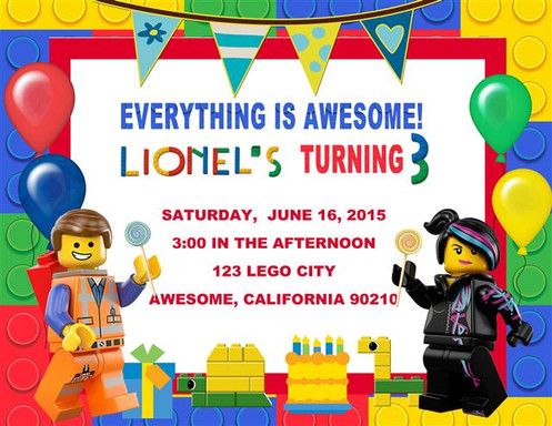 Lego Movie Birthday Party Keepsake Bottle Invitation Cards