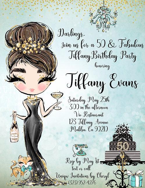 Tiffany Audrey Birthday Invitation (sold in sets of 10)