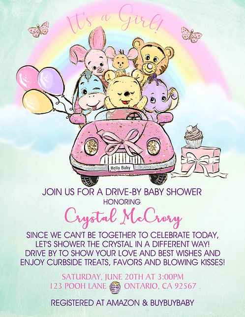 It's a Girl Pooh Babies Drive-By Baby Shower Invitations (sold in sets of 10)
