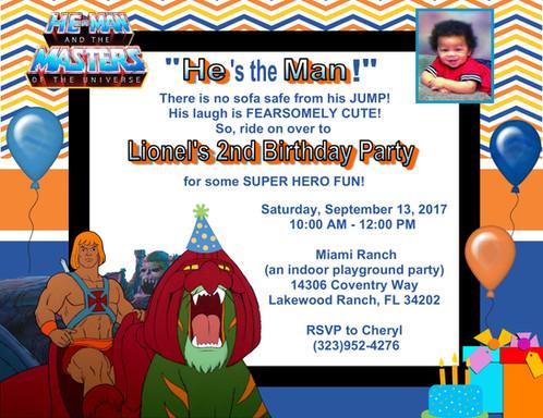 He Man Birthday Party Invitation