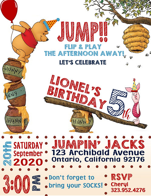 Pooh JUMP! Birthday Invitation (sold in sets of 10)