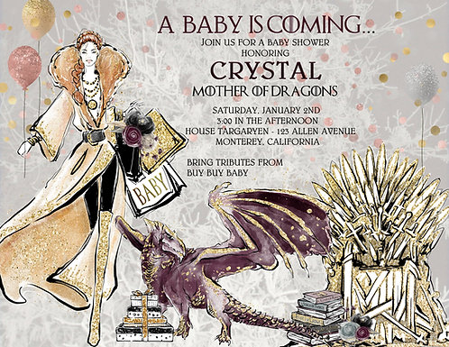 Mother of Dragons Baby Shower Invitations (sold in sets of 10)