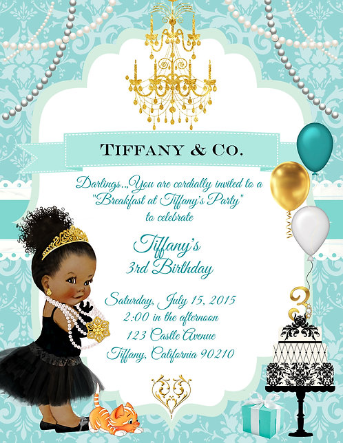 Afro Amer Breakfast at Tiffany Girl's Birthday Invitation (sold in sets of 10)
