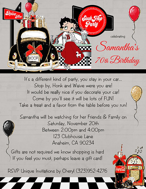 Betty Boop Sock Hop Drive-Thu Birthday Party Invitation (sold in sets of 10) s