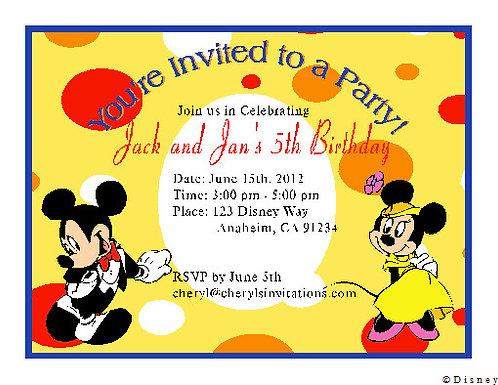 #2 Mickey and Minnie Twin Birthday Party Invitation