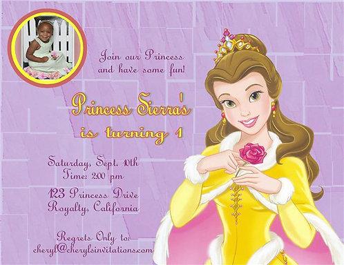 Princess Belle Birthday Party Invitation