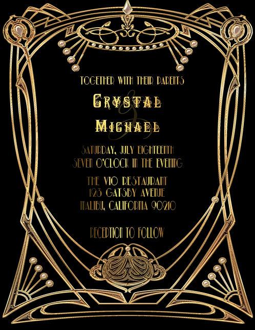 Gatsby Deco Wedding and Event Invitation (sold