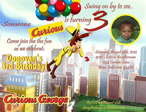 #1 Curious Gerorge Balloons  Birthday Party Invitations