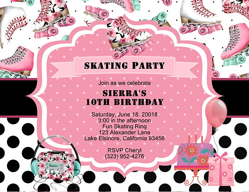 Skate Pink Birthday Party and  Event Invitation (sold in sets of 10)