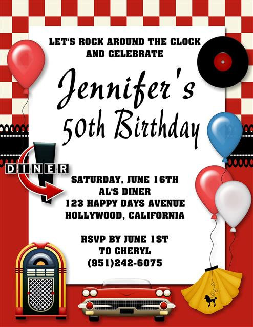 50's Birthday Party and  Event Invitation
