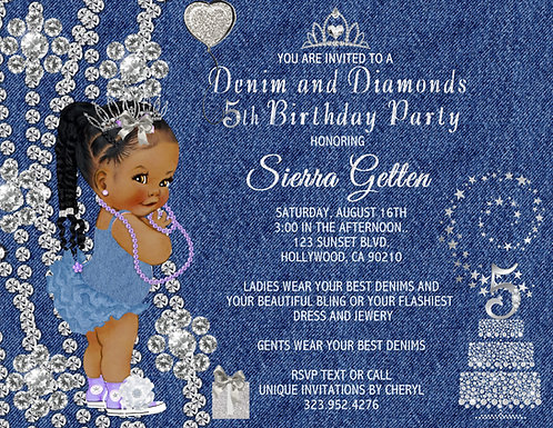 African American Denim & Diamond Girl Birthday Invitation (sold in sets of 10)