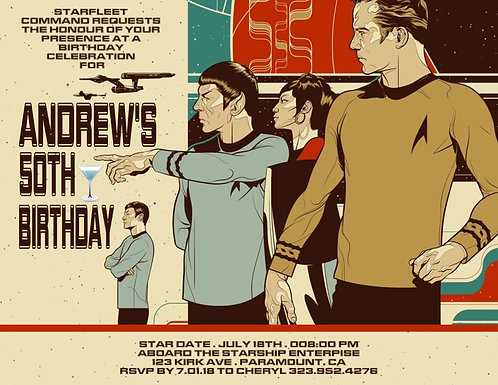 Original Star Trek Birthday Party and  Event Invitation (sold in sets of 10)