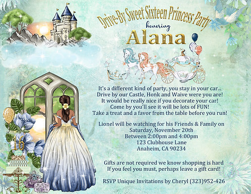 African American Sweet 16 Drive-By Princess Invitation (sold in sets of 10)